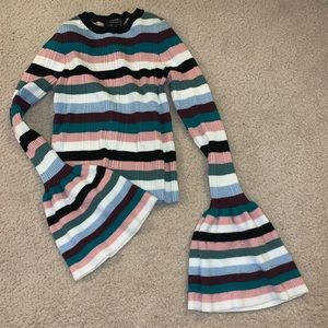 Forever 21 Striped Cropped Bell Sleeve Sweater XL